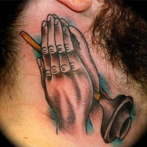People's Praying Hands Tattoo On Neck