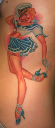 Petty  Smiling Sailor Girl Tattoo On Ribs