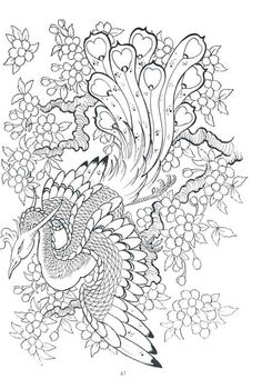 Phoenix And Blossoms Tattoos Design