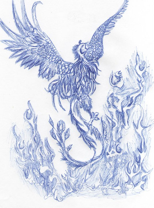Phoenix And Blue Flames Tattoo Design