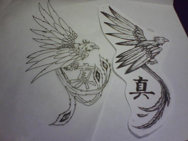 Phoenix And Chinese Symbol Tattoos Designs