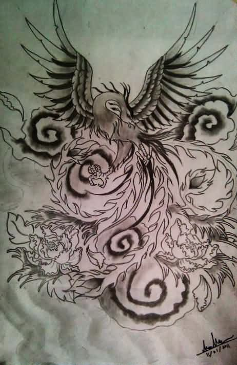 Phoenix And Clouds Tattoos Sketch