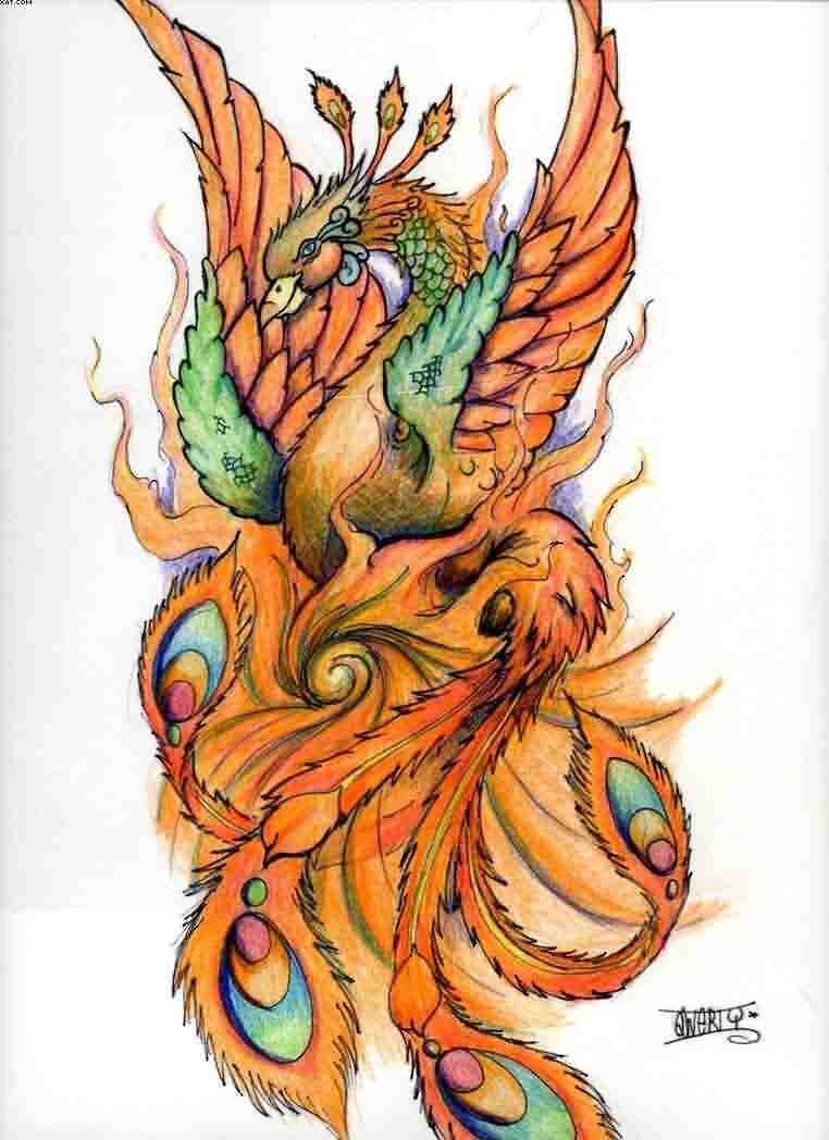 Phoenix And Flames Tattoo Design