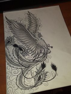 Phoenix And Swirls Tattoo Designs Page