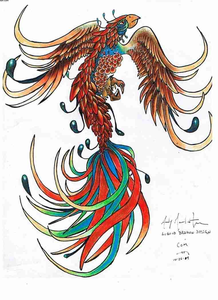 Phoenix Color Tattoo Design