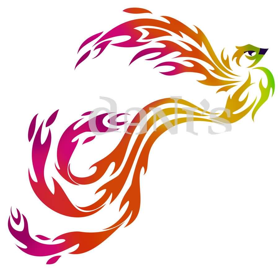 Phoenix Colorful Tribal Tattoo Design