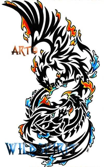 Phoenix Dragon Color Splash Tattoo Design