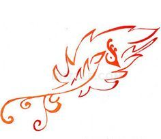 Phoenix Feather Outline Tattoo Stencil