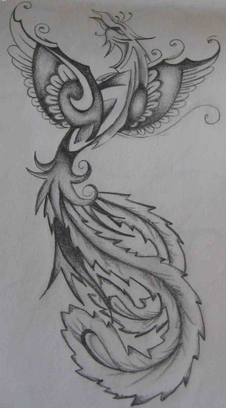 Phoenix Female Tattoo Design