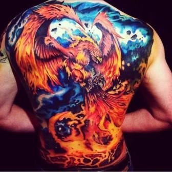 Phoenix Fire Tattoo On Entire Back