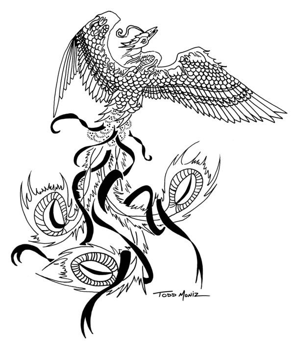 Flying Tribal Phoenix Tattoo Design