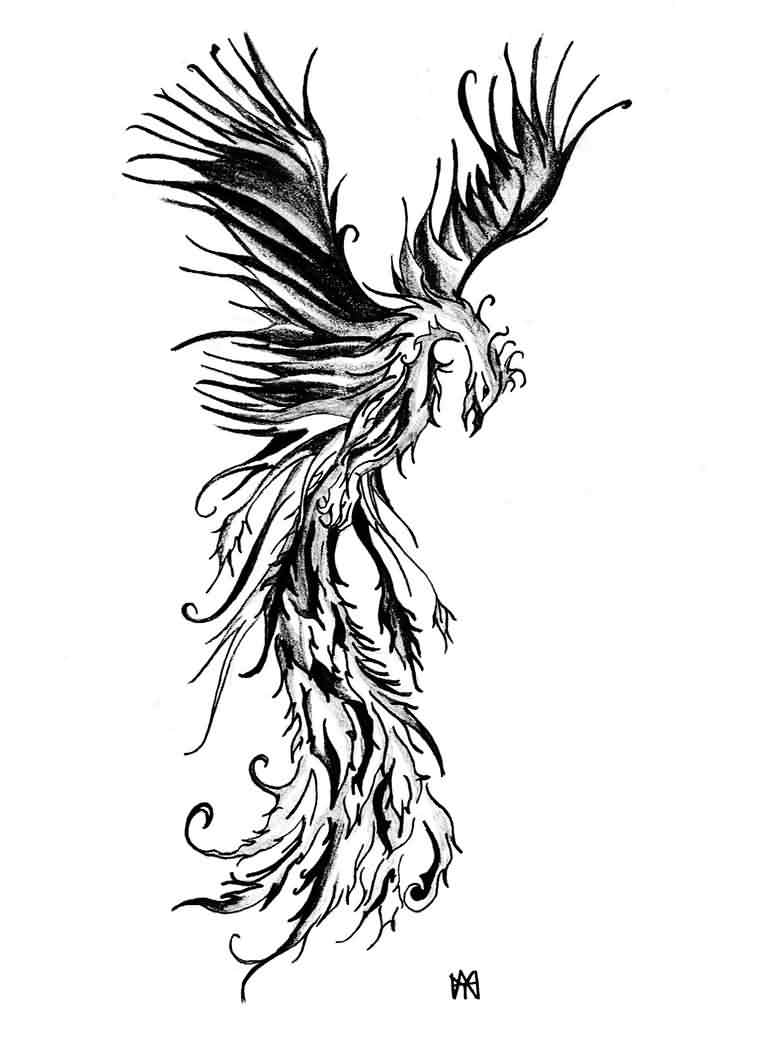Phoenix Grey Ink Tattoo Design