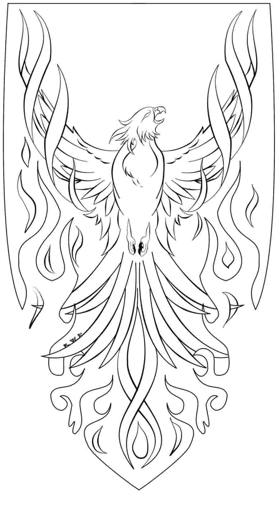 Phoenix Lineart Tattoo Design