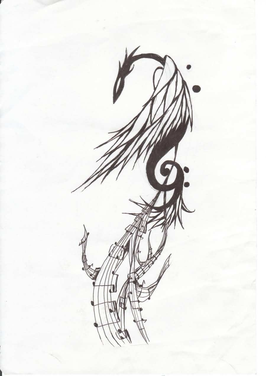 Phoenix Music Tattoo Design
