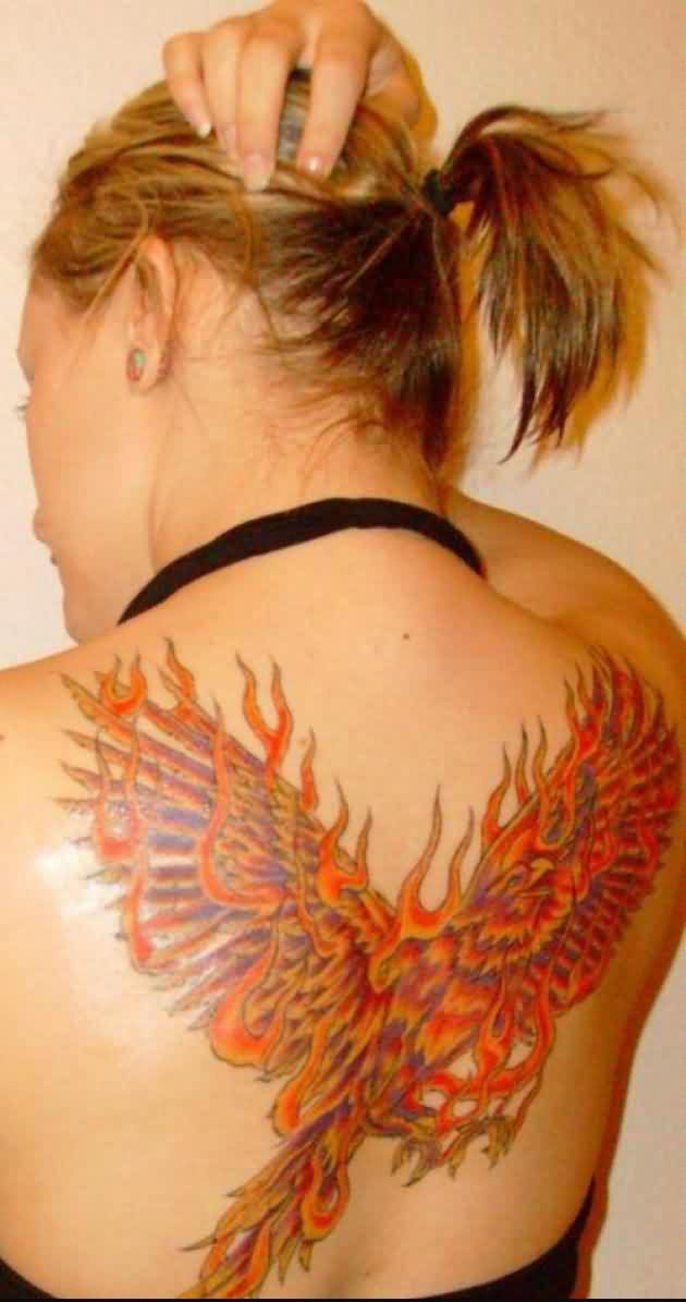Phoenix On Fire Tattoo On Upperback