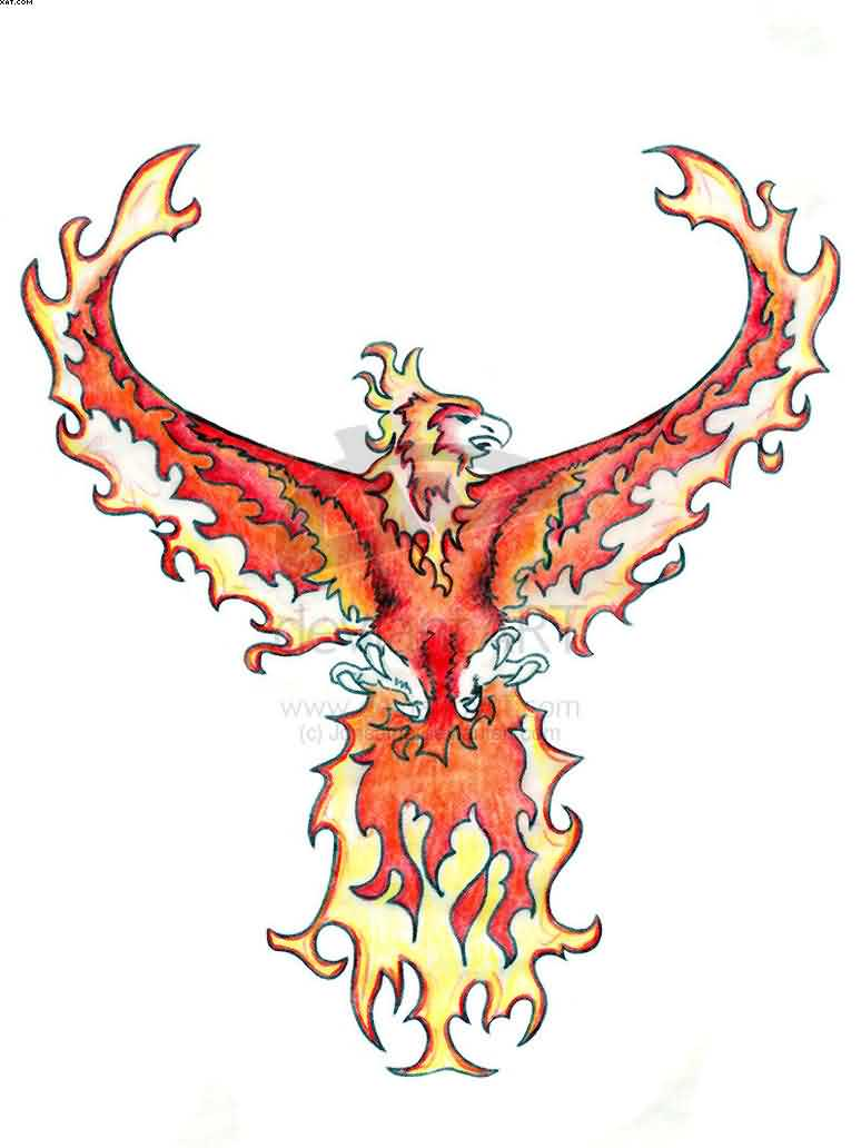 Phoenix On Fire Tattoo Sample