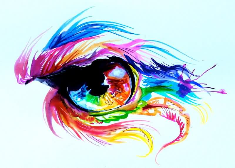 Phoenix Rainbow Eye Tattoo Flash