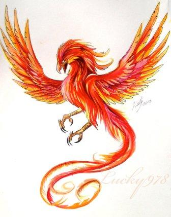 Phoenix Red Tattoo Design