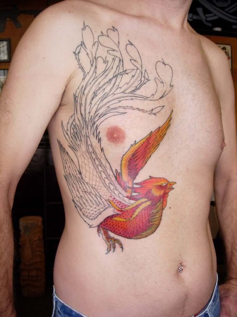 Phoenix Tattoo On Chest To Stomach