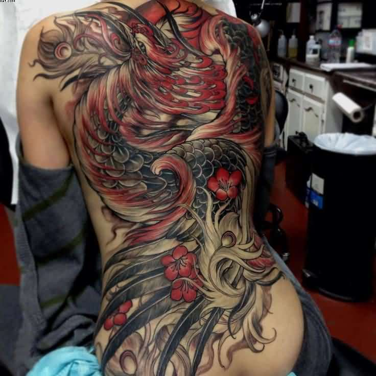 Phoenix Tattoo On Entire Back