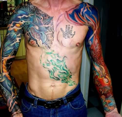 Phoenix Tattoo On Left Sleeve