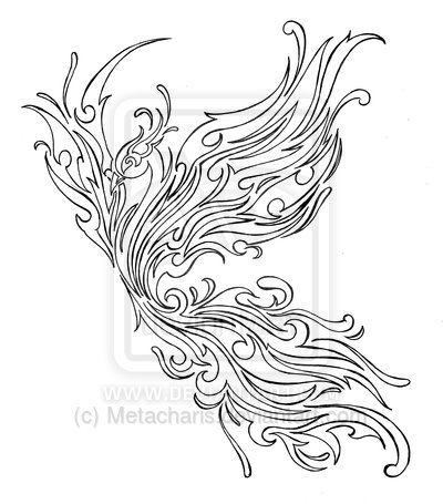 Phoenix Tribal Outline Tattoo Design