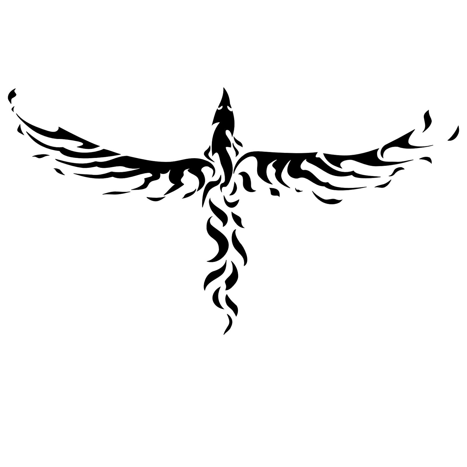Phoenix Tribal Tattoo Design For Upperback