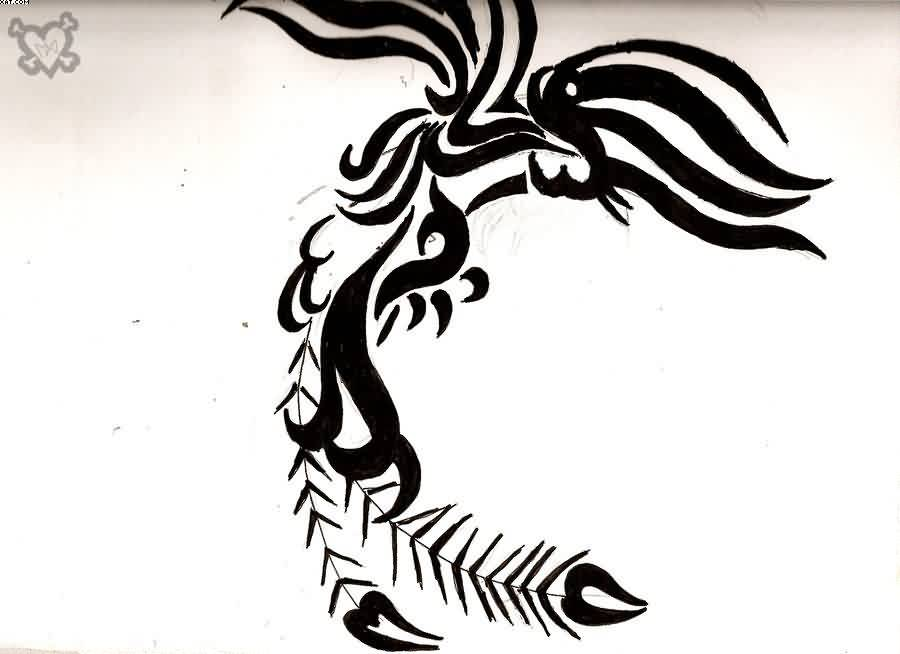 Phoenix Tribal Tattoo Flash