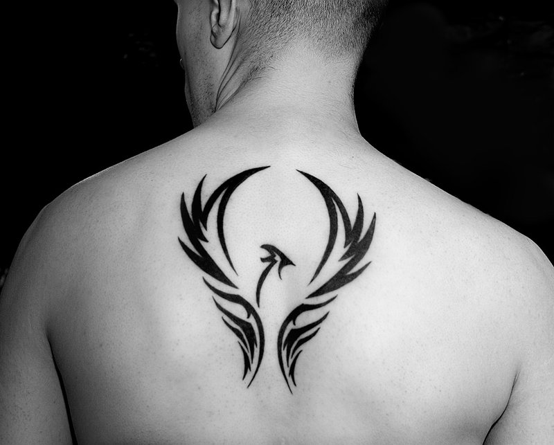 Phoenix Tribal Tattoo On Upperback