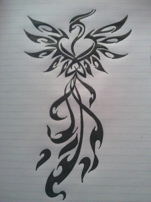 Phoenix Tribal Tattoo Sketch