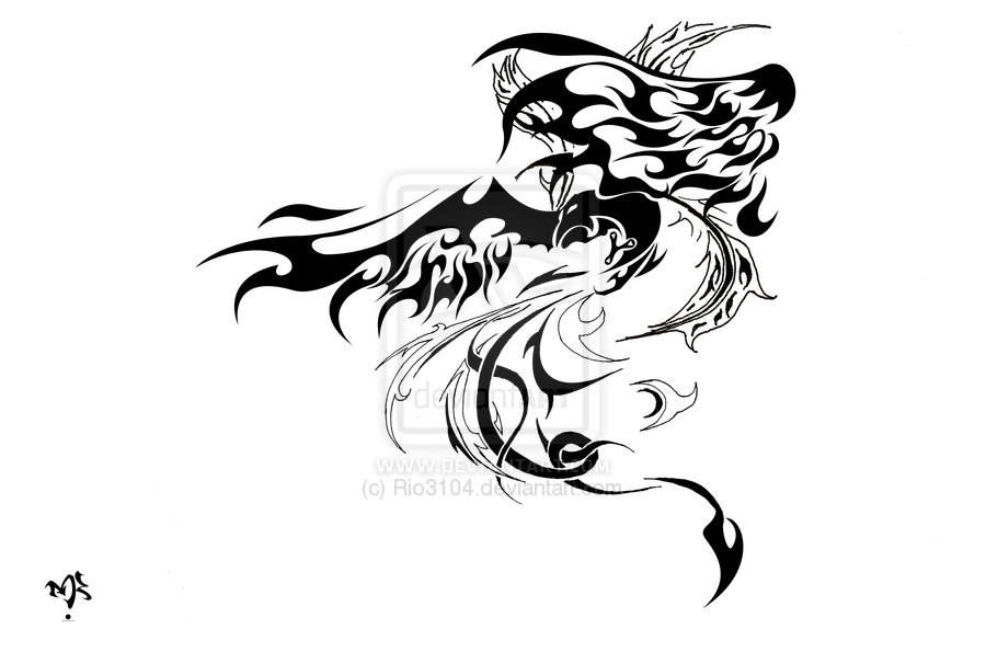 Phoenix Tribal Tattoo Stencil