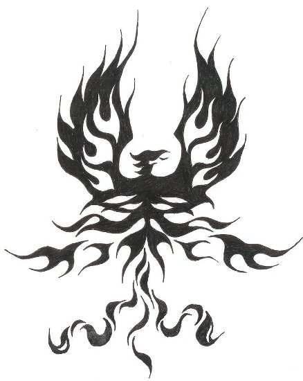 Phoenix Tribal With Wings Spread Tattoo Design