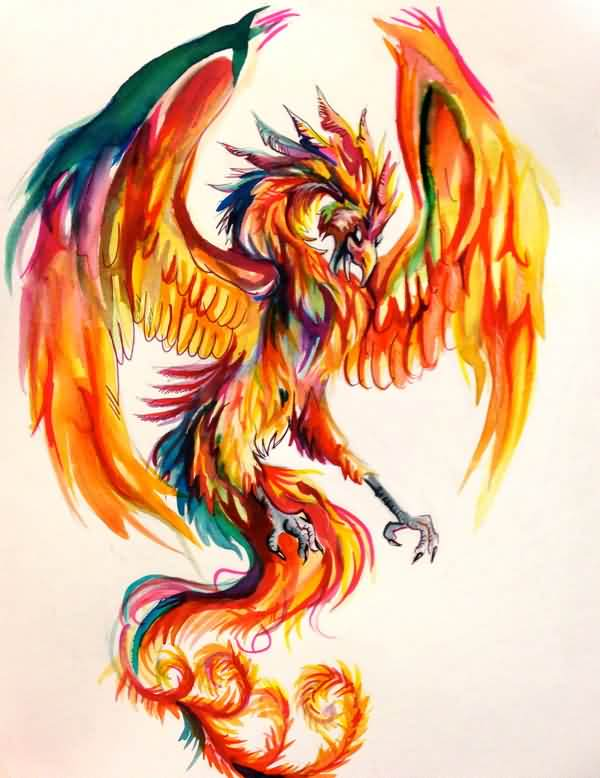 Phoenix Watercolor Tattoo Design