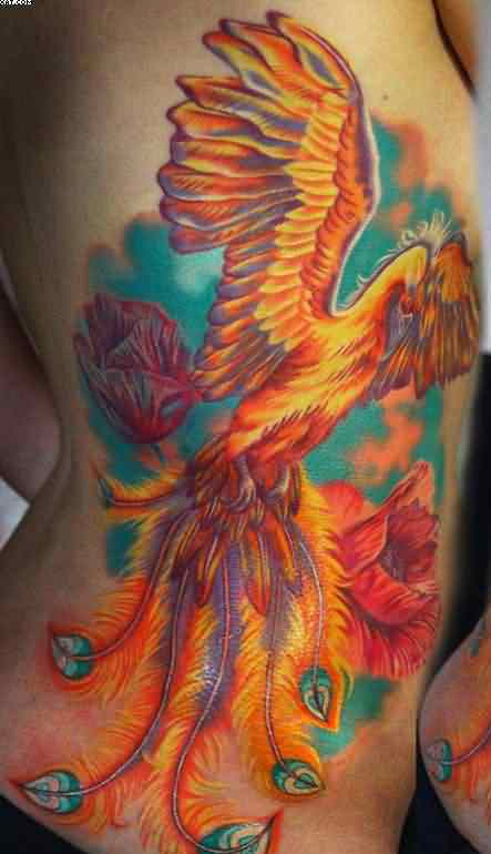 Phoenix With Flowers Tattoos On Side