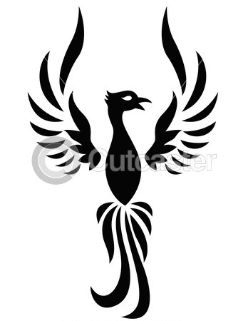 Phoenix With Open Wings Tattoo Design