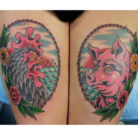 Picture Of Rooster And Pig Tattoos On Thigh