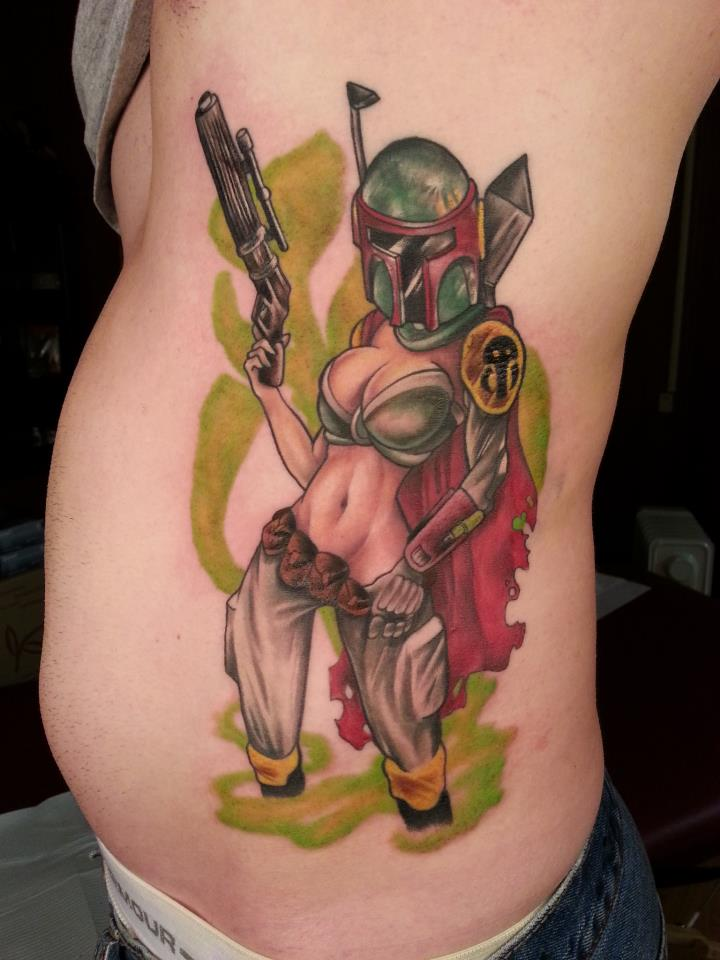 Pin Up Bobba Fett Tattoos On Side