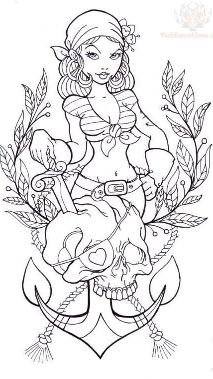 Pin Up Girl And Pirate Skull Anchor Tattoo Sample