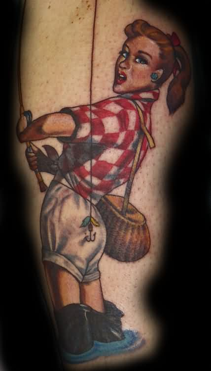 Pin Up Girl Doing Fishing Tattoo