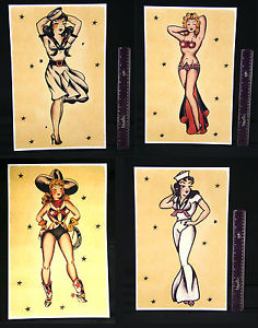 Pin Up Girl Tattoo Flash Set
