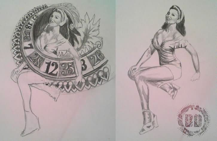 Pin Up Girl Tattoos Sketch