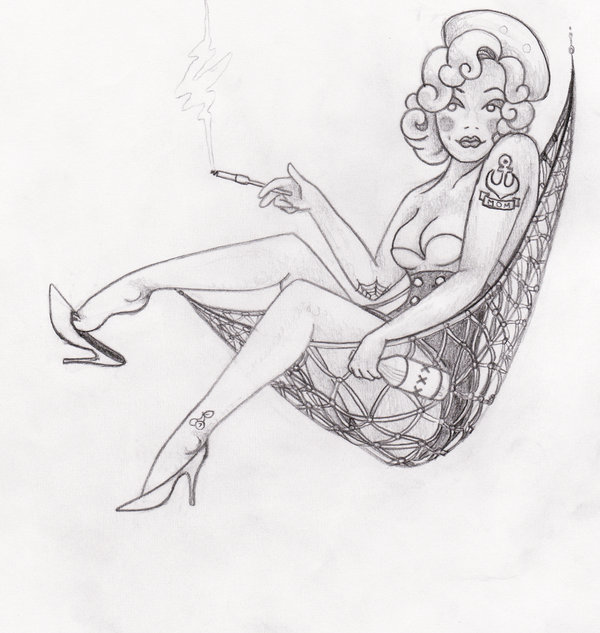 Pin Up Sailor Tattoo Sketch