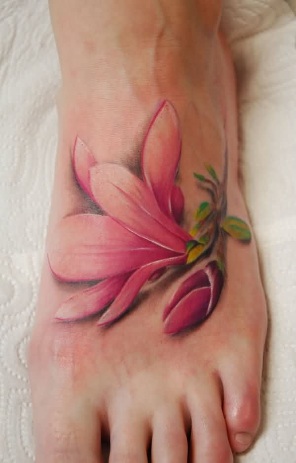 Pink Flower Tattoo On Foot