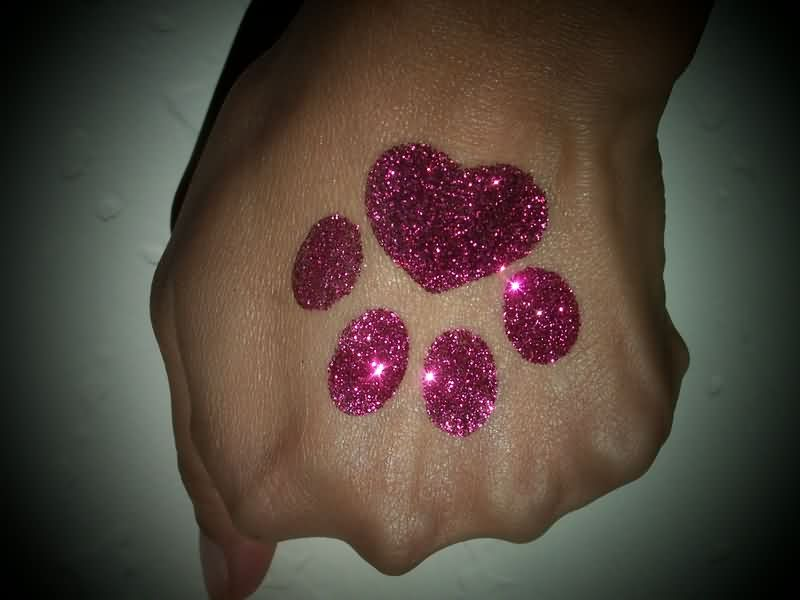 Pink Glitter Heart Paw Print Tattoo On Hand