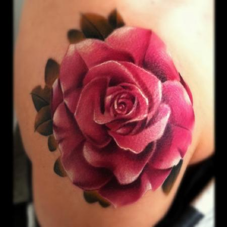 Pink Realistic Rose Tattoo On Shoulder