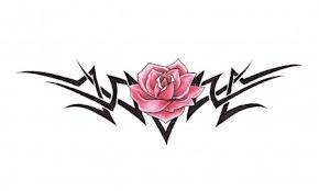 Pink Rose And Black Tribal Tattoo Design