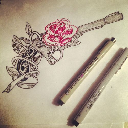 Pink Rose And Pistol Tattoo Sketch