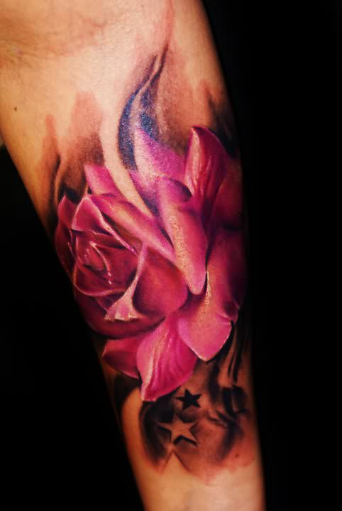 Pink Rose And Star Tattoos