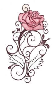Pink Rose And Swirls Tattoos Stencil