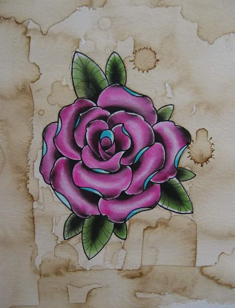 Pink Rose Tattoo Flash